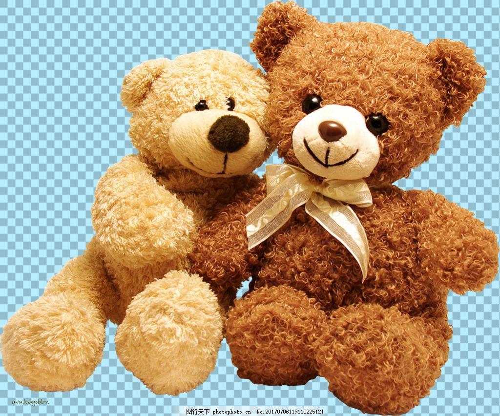 两只可爱熊玩具图片免抠png透明图层素材