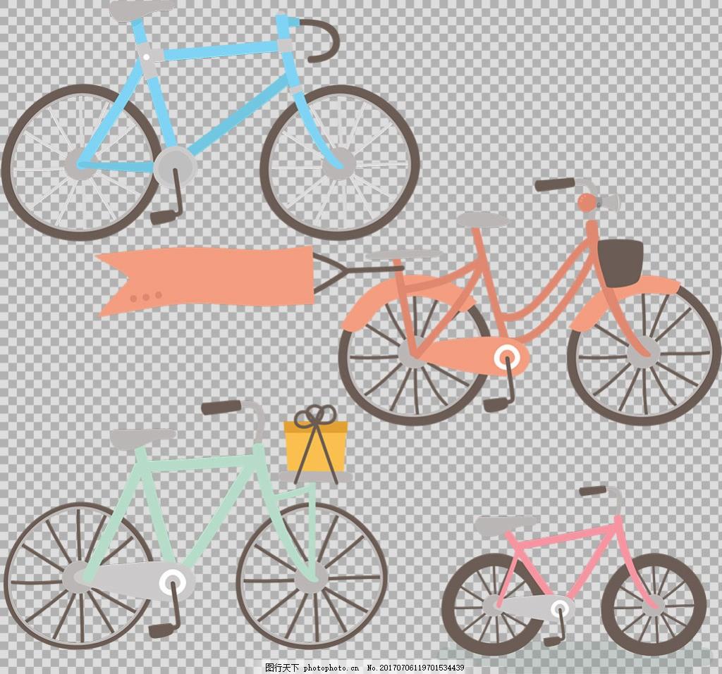 手绘各种自行车插画免抠png透明图层素材