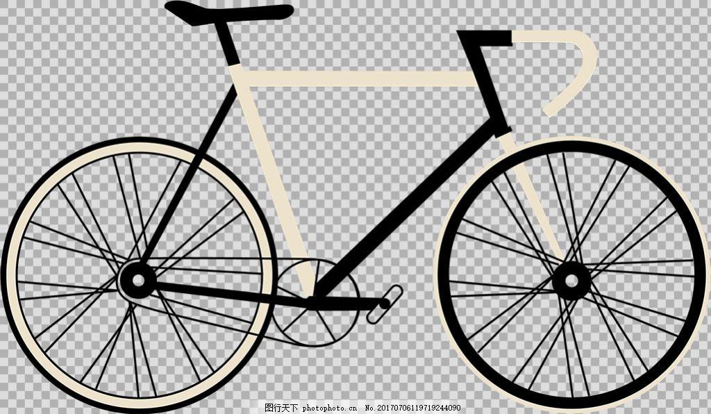 手绘黑白自行车插画免抠png透明图层素材