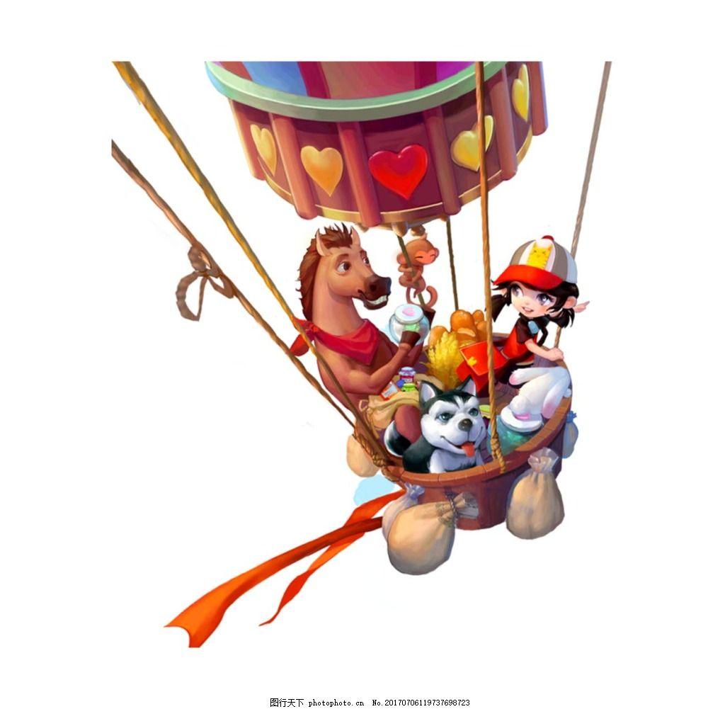 降落伞上的小动物png元素 降落伞上的小动物免费下载 小马 小狗