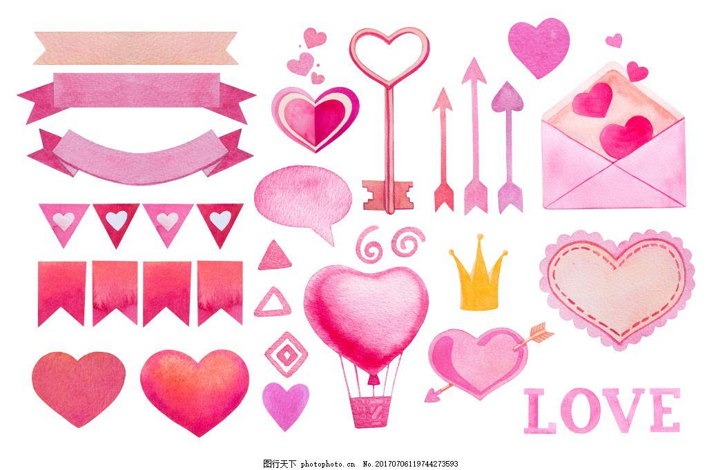 粉红色可爱浪漫情书爱心装饰素材