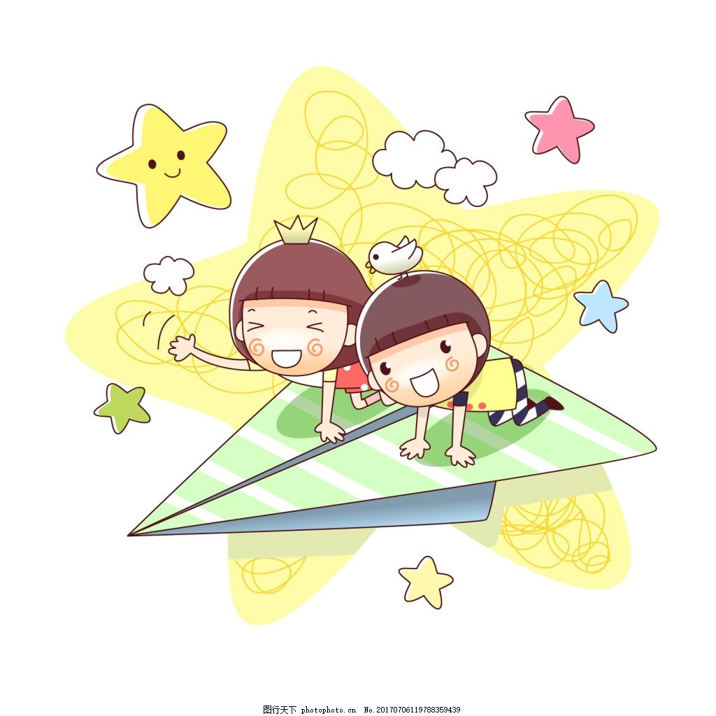 卡通人物 卡通小孩 纸飞机 星星 白色云朵 免扣 png元素