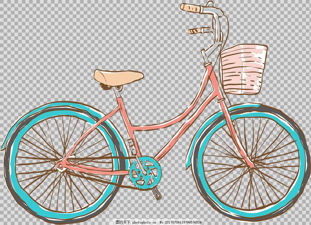 手绘彩色自行车插画免抠png透
