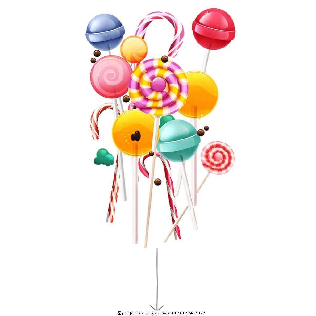 彩色棒棒糖元素 手绘 卡通 糖果 彩色 棒棒糖 png 素材 png