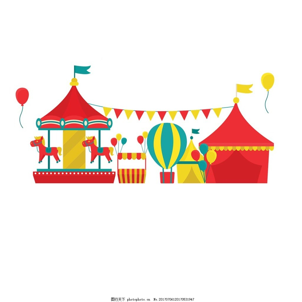 卡通旋转木马蒙古包元素 手绘 游乐园 彩色热气球