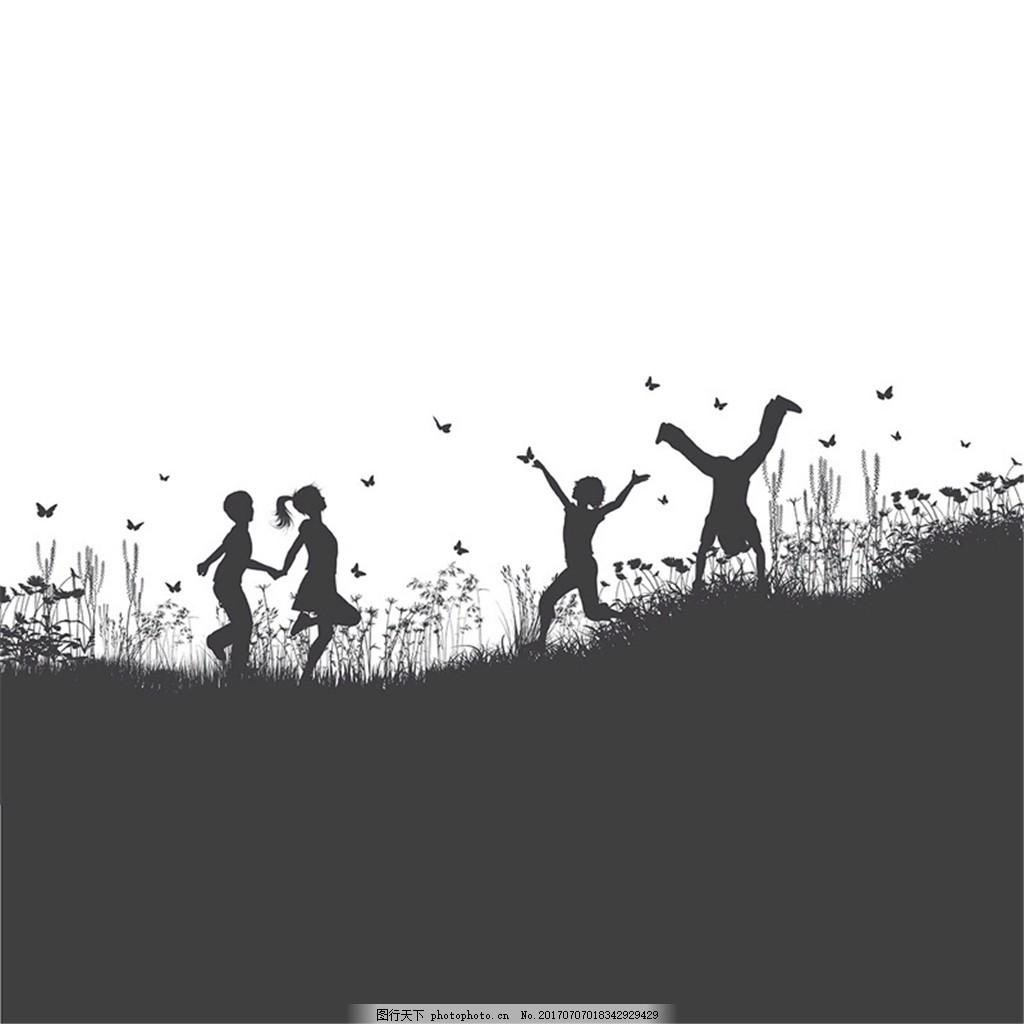 郊外玩耍的4个儿童剪影矢量图 蝴蝶 翻筋斗 人物 男孩 女孩 花丛