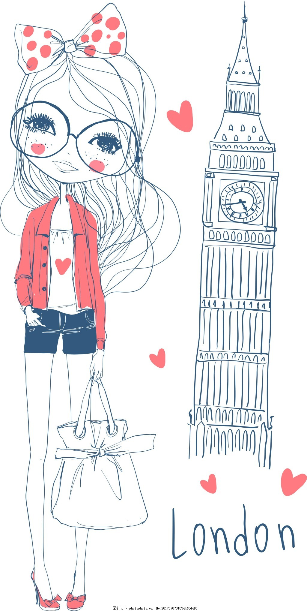 手绘建筑和人物插画 简笔 可爱 女生 英国 大本钟