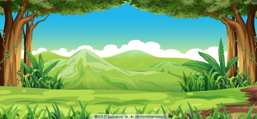 卡通动漫手绘树木草地白漫画背景