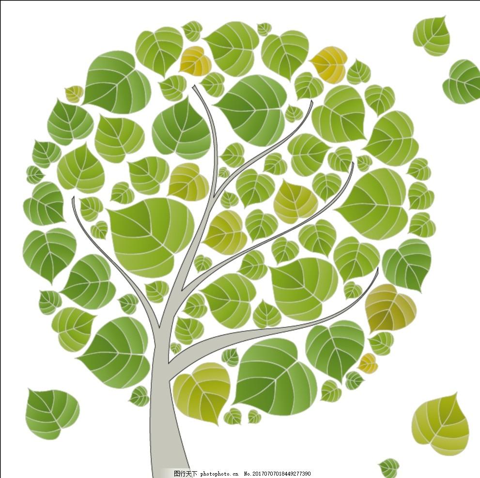 春天绿色树叶大树卡通矢量图绿叶卡通树叶大全梦幻矢量树叶春天图片