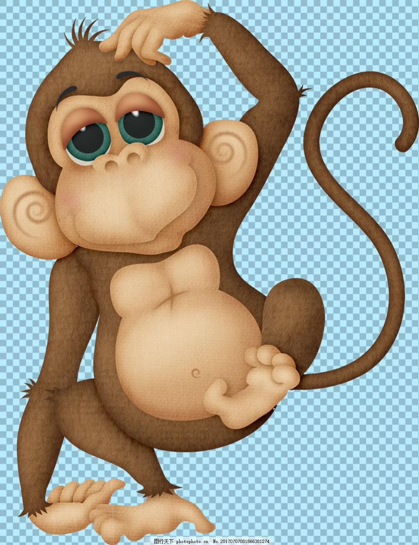 可爱卡通猴子免抠png透明图层素材 野兽 可爱动物图片 家禽 家畜 动物