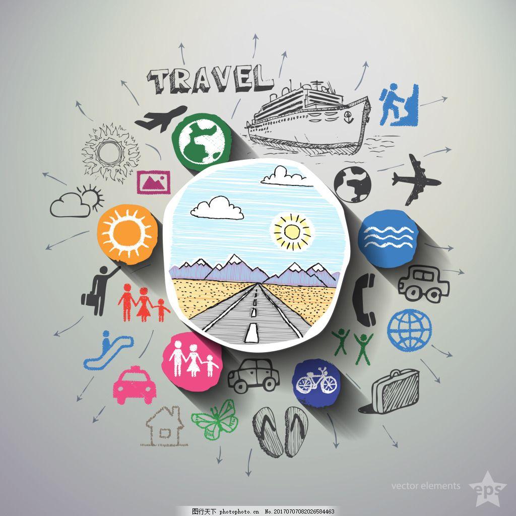 在上路旅行涂鸦插画 人物 出行 手绘 轮船 飞机 太阳
