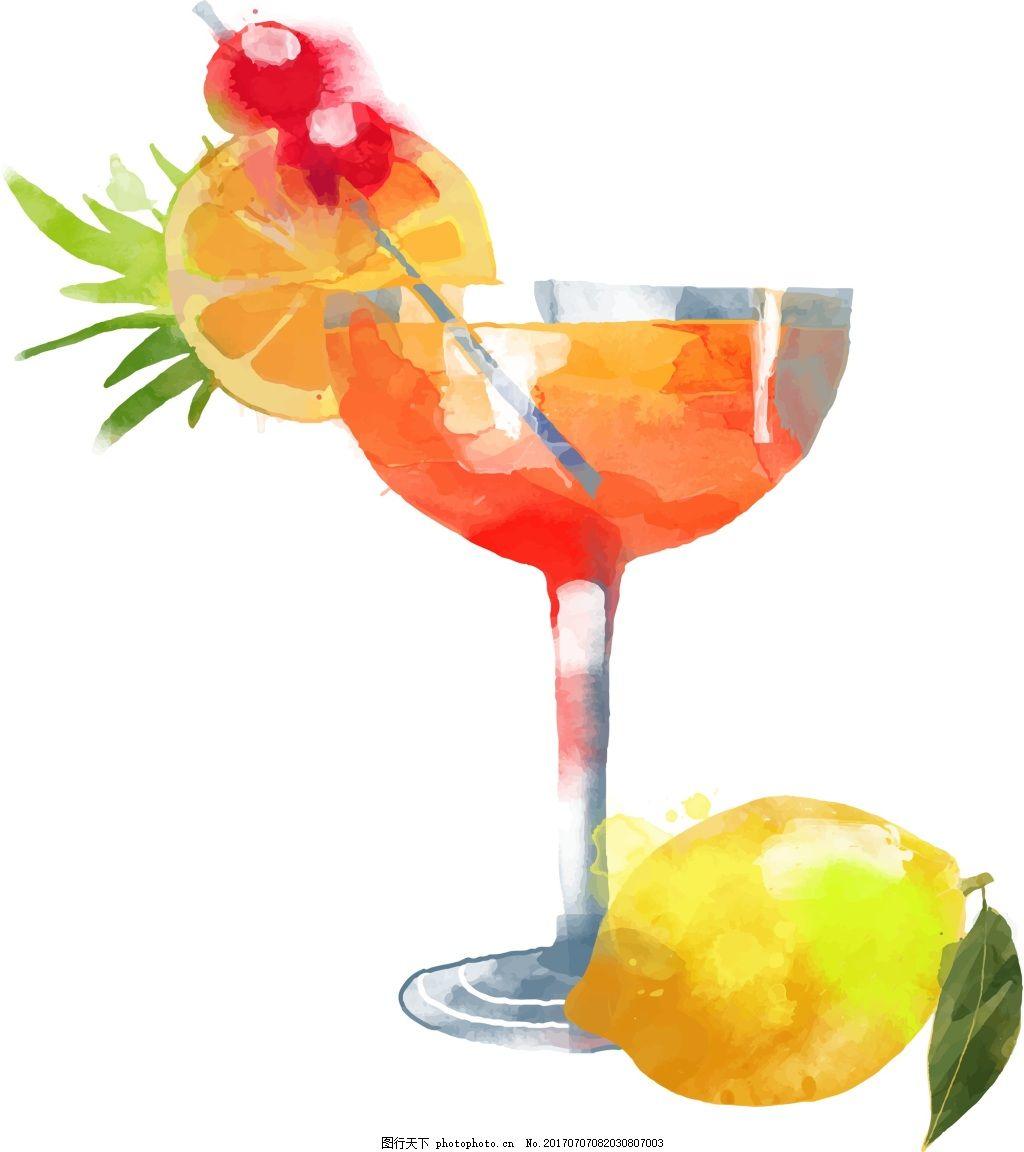 夏天水果饮料招贴海报手绘水彩矢量图