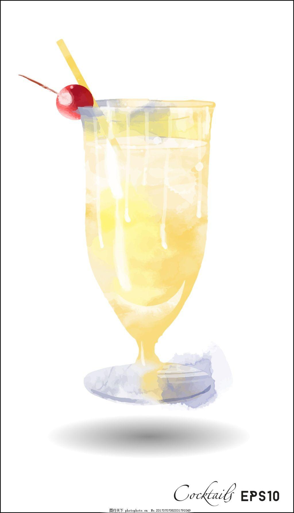 夏日黄色水果饮料招贴海报手绘水彩矢量图