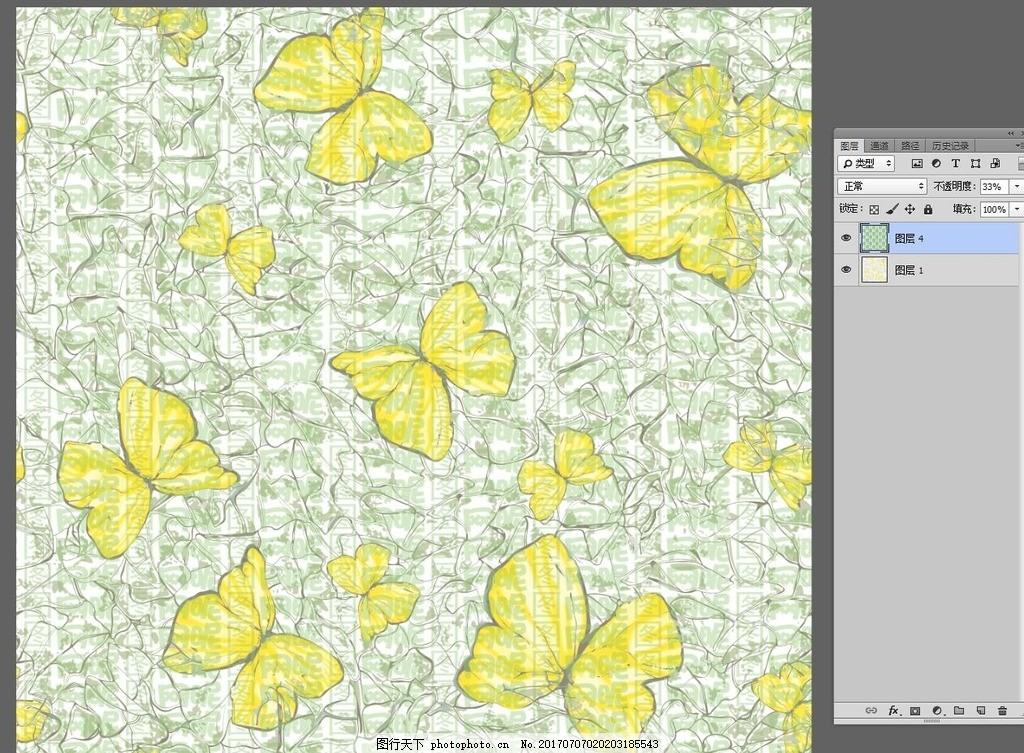 手绘线条花纹黄色蝴蝶无限回位