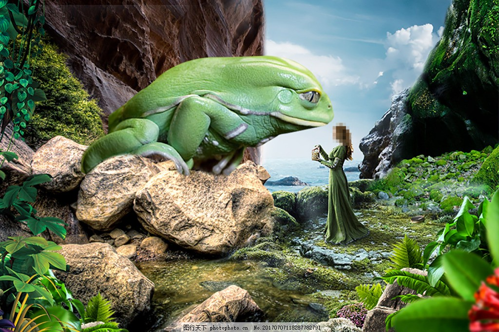 美女与青蛙背景海报 美女 青蛙 动物 绿色 山 合成海报 石头