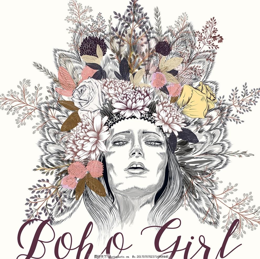 时尚女孩 手绘美女 手绘人物 素描美女 钢笔画美女 线描 少数民族女性