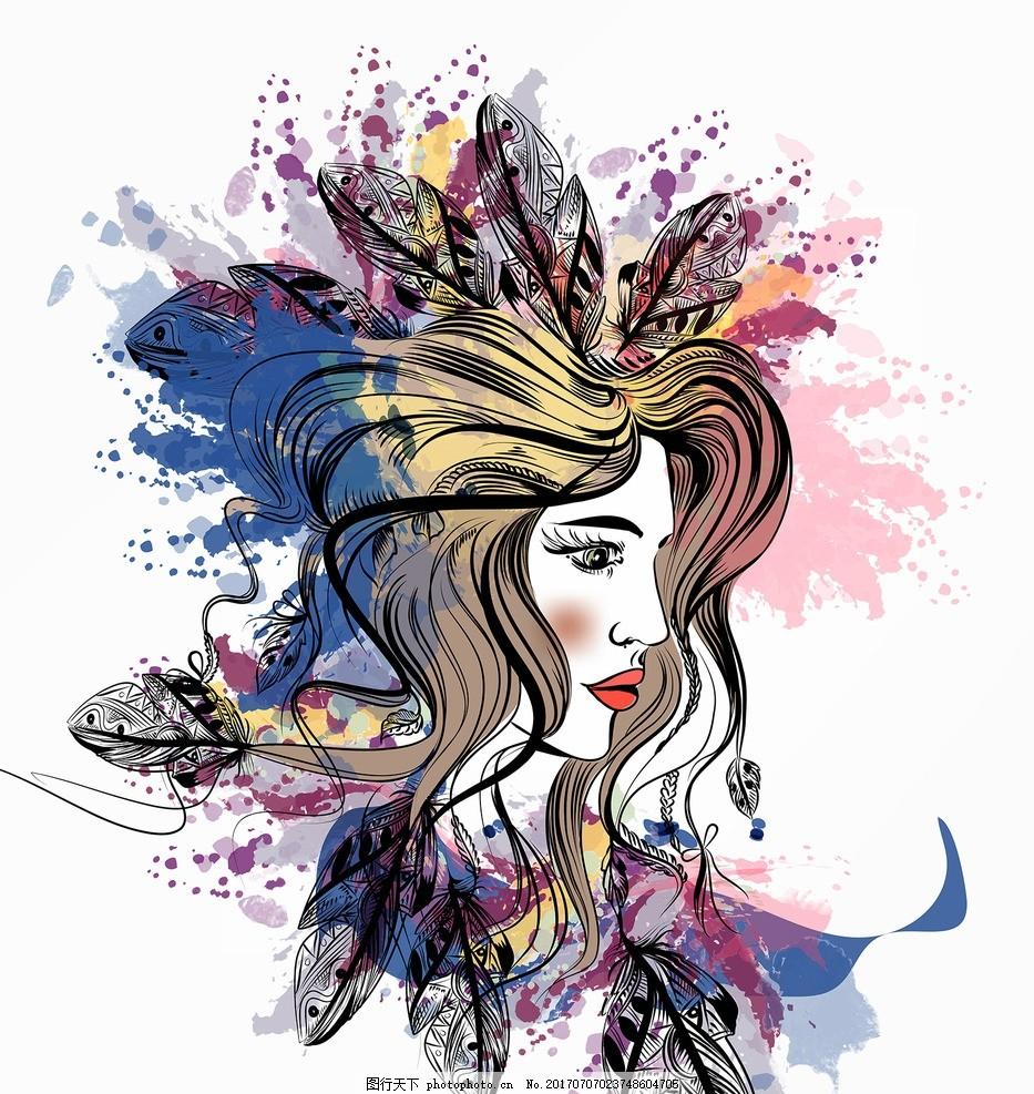 时尚的女孩 手绘人物 素描美女 钢笔画美女 线描 少数民族女性 服装