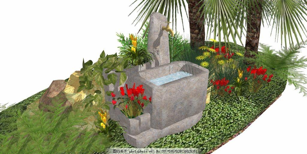 庭院小水景景观素材 空间设计 建筑 创意建筑 休闲建筑 小型建筑