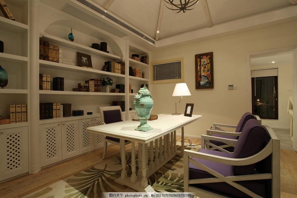 现代别墅书房装修效果图 室内装修效果图图片 时尚 室内设计 设计素材