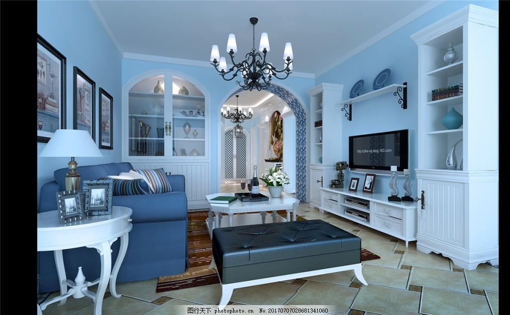 美式别墅客厅装修效果图,室内设计 室内装修效果图-图