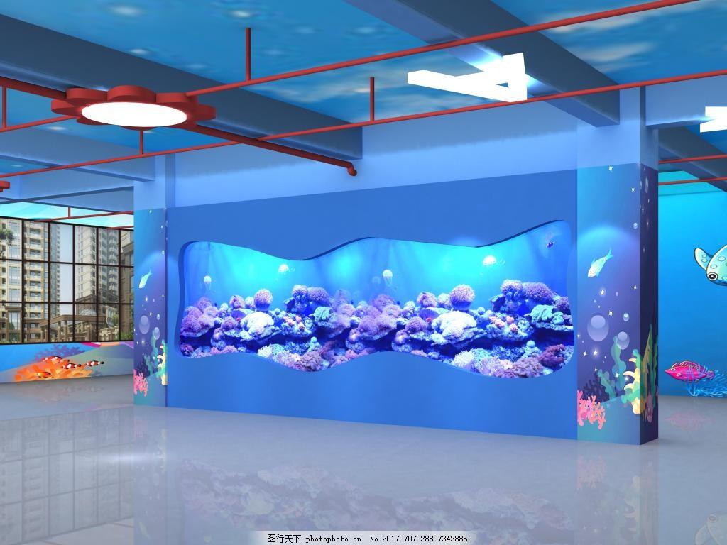 鱼缸观赏主题设计壁纸效果图