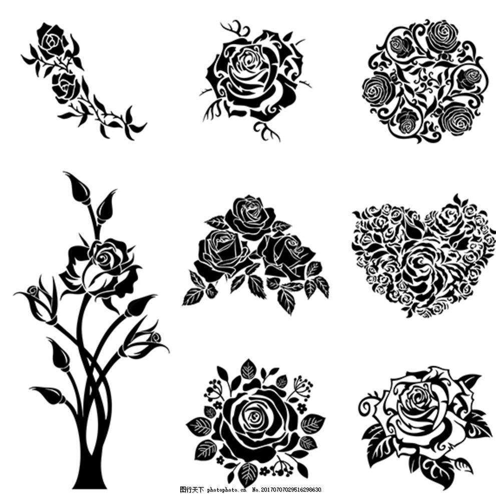 玫瑰纹身剪影 黑白图标 矢量玫瑰 玫瑰花 一束玫瑰 玫瑰花开 简单玫瑰