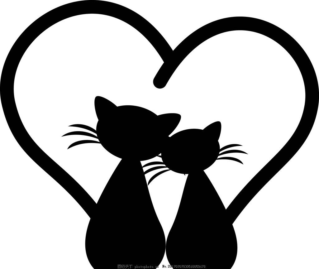 卡通黑猫 卡通动物 动漫卡通 可爱 贺卡 动物插画 插画 儿童绘本 儿童