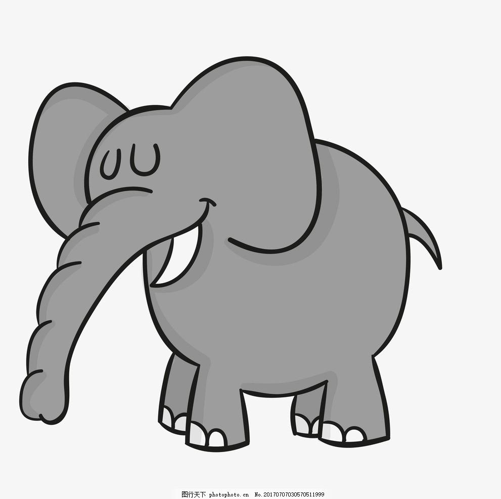卡通大象 卡通动物 动漫卡通 可爱 贺卡 动物插画 儿童绘本 儿童画画