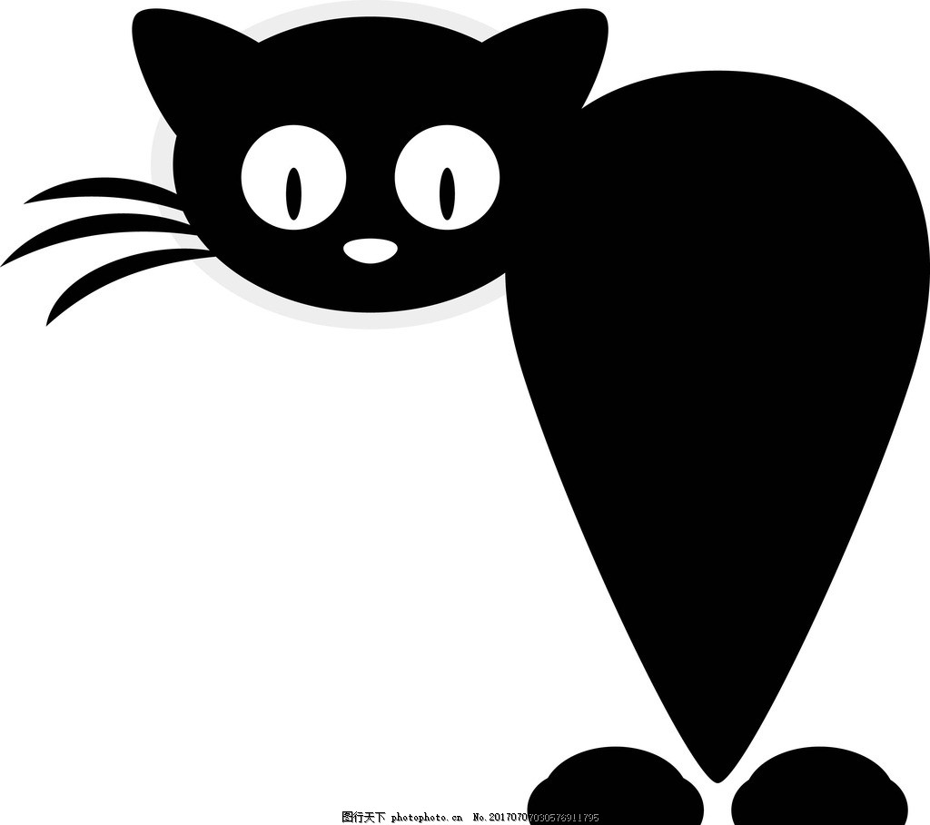 卡通黑猫 卡通动物 动漫卡通 可爱 贺卡 动物插画 插画 儿童绘本 儿