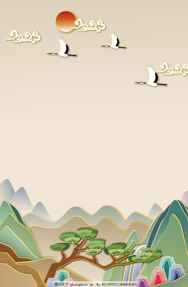 地产和风复古仙境背景手绘矢量图