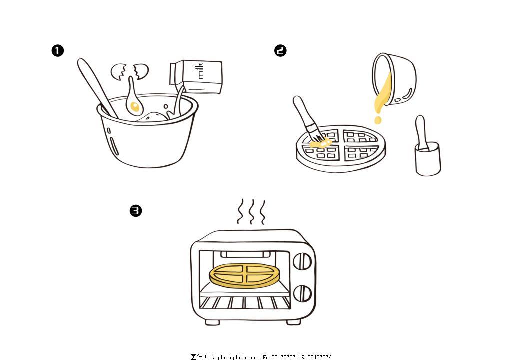 松饼制作步骤卡通画 烹饪书报纸烹饪框的小画 儿童卡通插画 食品包装