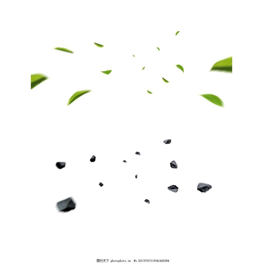 清新飘浮几何元素 手绘 绿色 立体 漂浮 蓝色石块