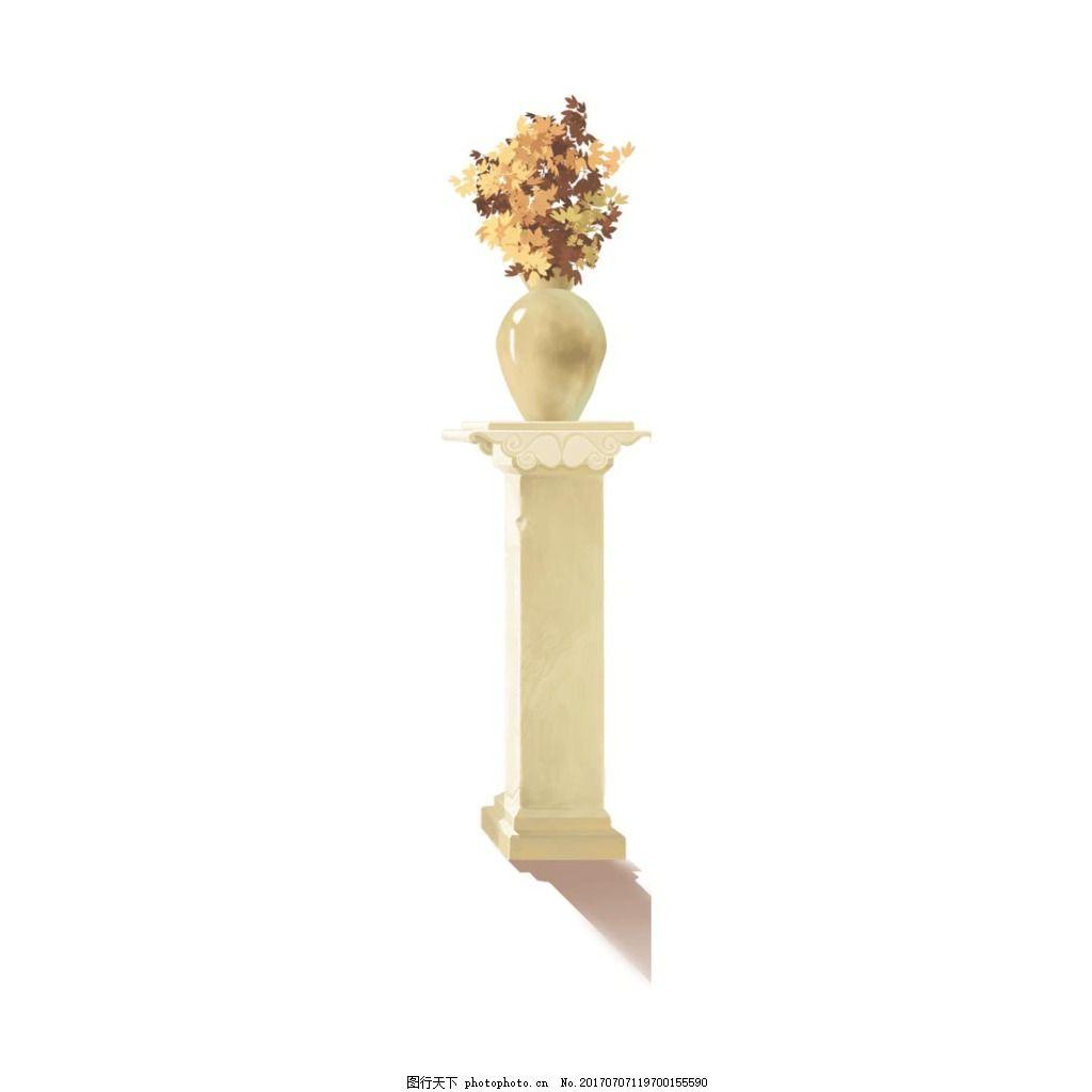 淡雅花束元素 米色石柱 花纹 雕花