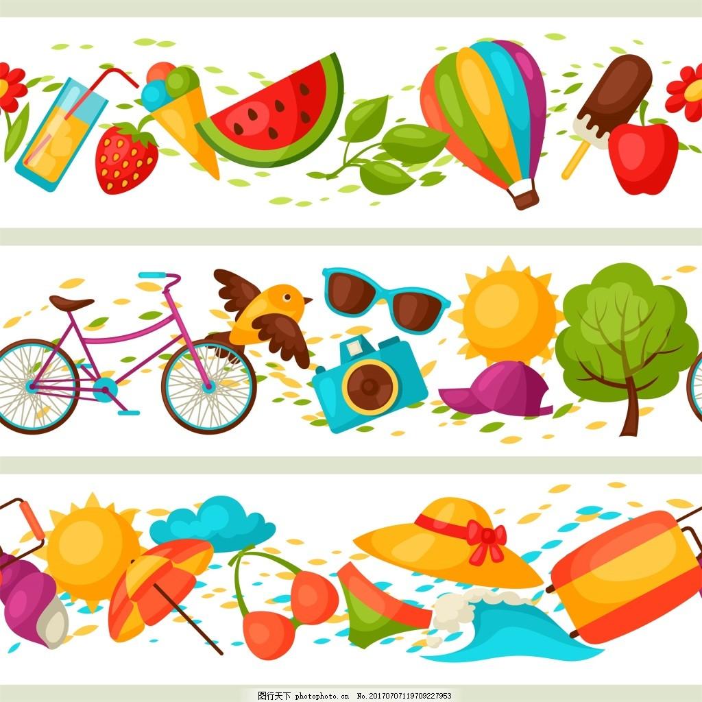 夏日插画banner多彩矢量背景素材 可爱 西瓜 扁平化 旅行箱 树木 小鸟