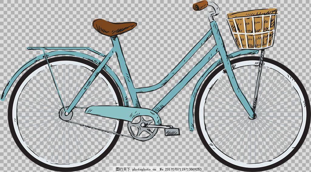 手绘带篮子自行车插画免抠png透明素材