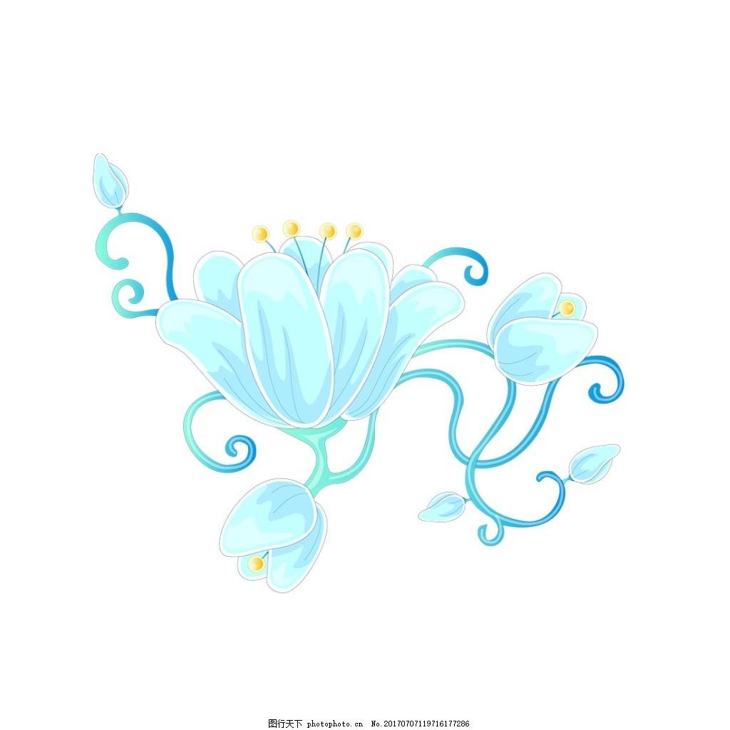 蓝色水墨花朵元素 手绘 清新 蓝色花纹 花藤 树叶 水墨 png 素材 png