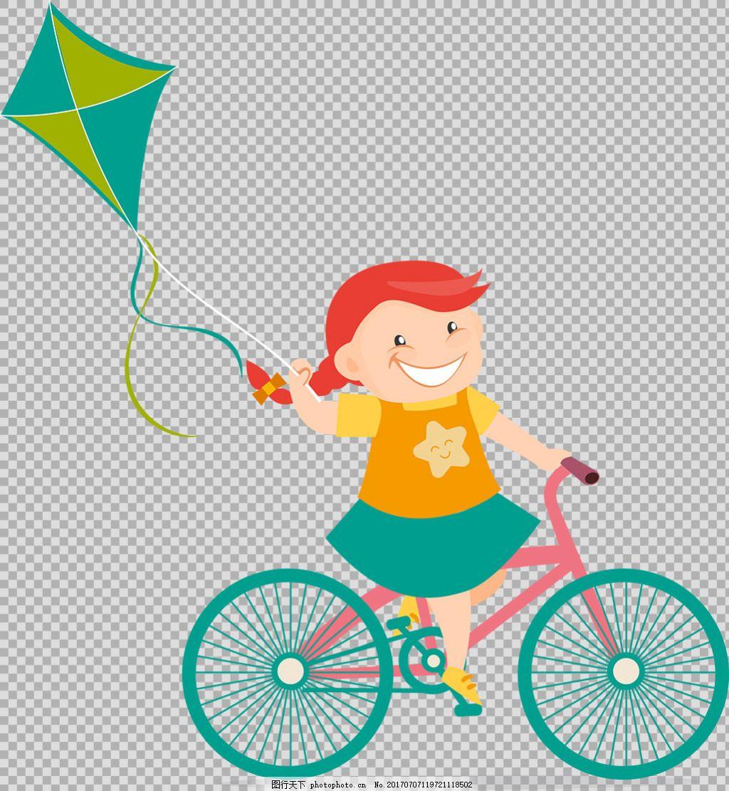 小女孩骑自行车插画免抠png透明图层素材