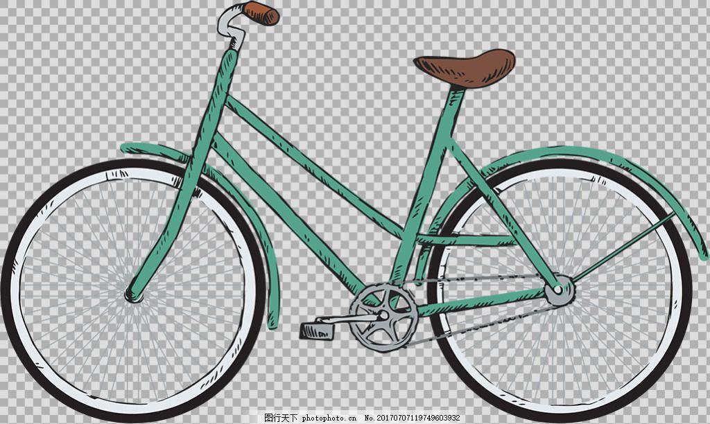 手绘蓝色自行车插画免抠png透明图层素材 自行车 共享单车 女式单车