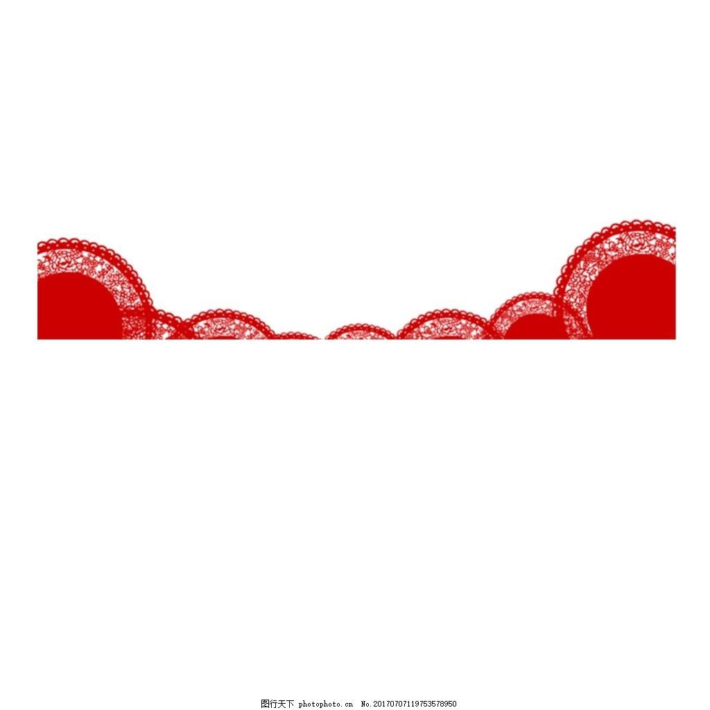 中国风红色半圆元素 圆弧 花纹