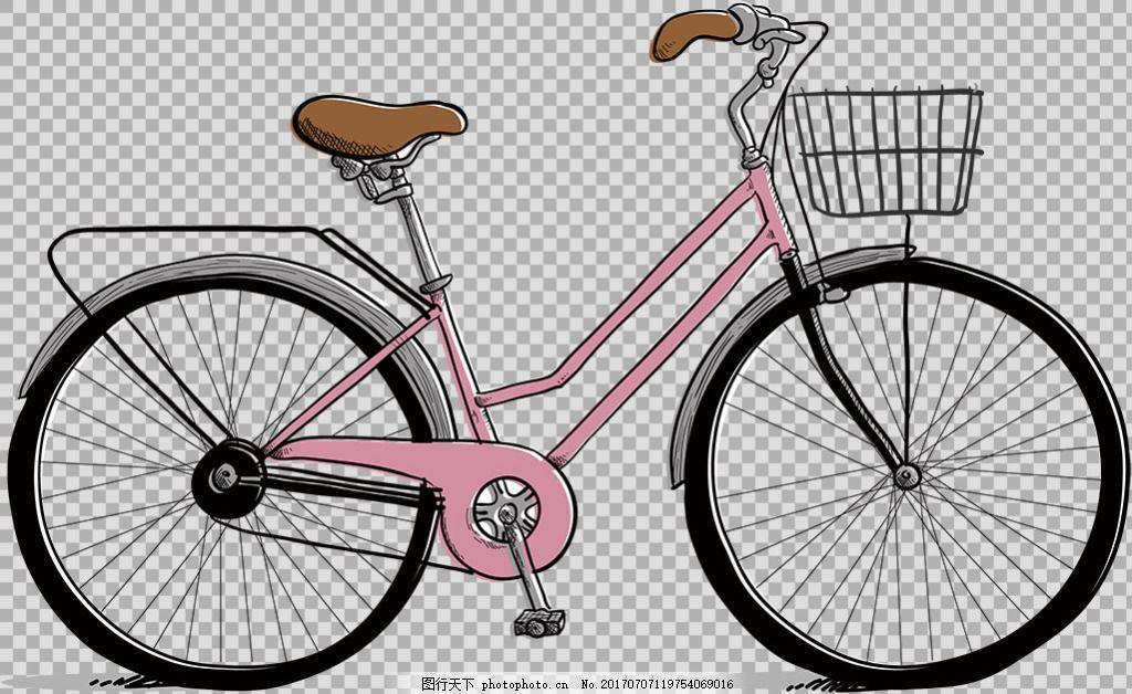 手绘自行车插画免抠png透明图层素材