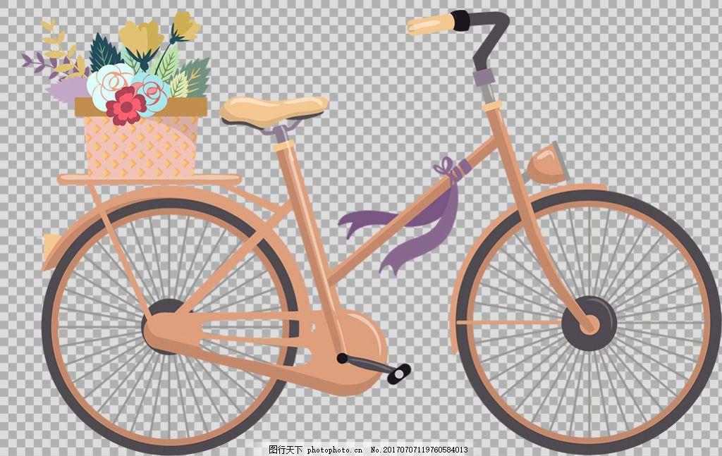 花篮自行车插画免抠png透明图层素材