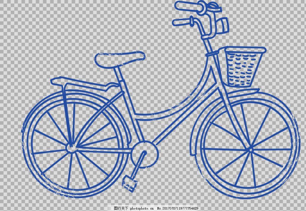 蓝色手绘自行车插画免抠png透明图层素材 自行车 共享单车 女式单车