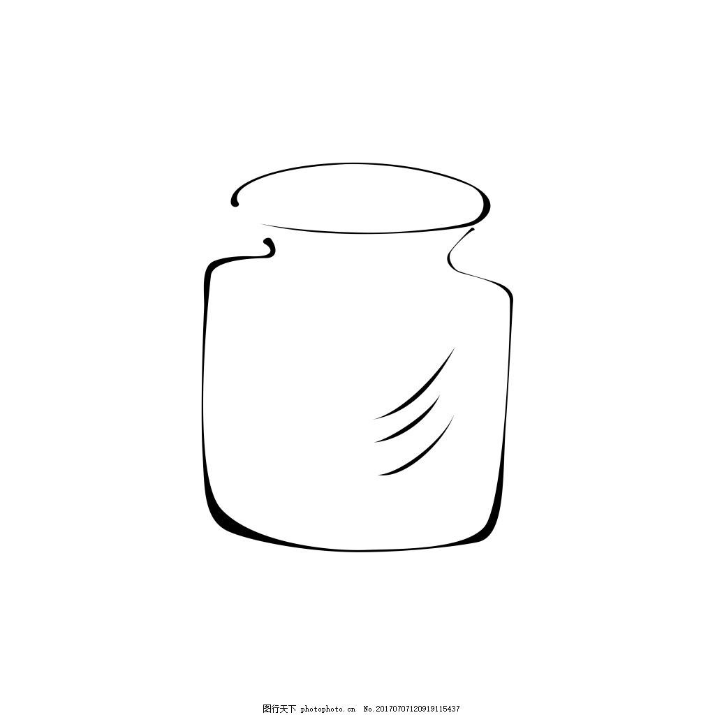 线条花瓶 花瓶简笔画 手绘花瓶 极简风 小花瓶