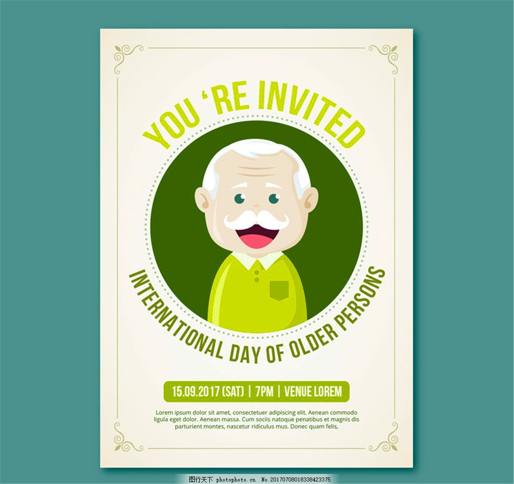 可爱老人派对邀请卡矢量素材 老爷爷      笑脸 国际老年人日
