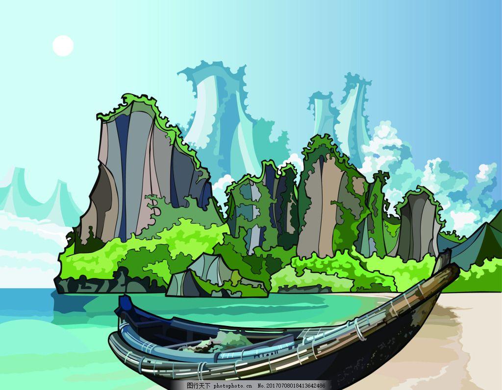 海边岛屿船只矢量插画 绿色 海水 蓝天 白云 太阳 风景 创意 涂鸦 小