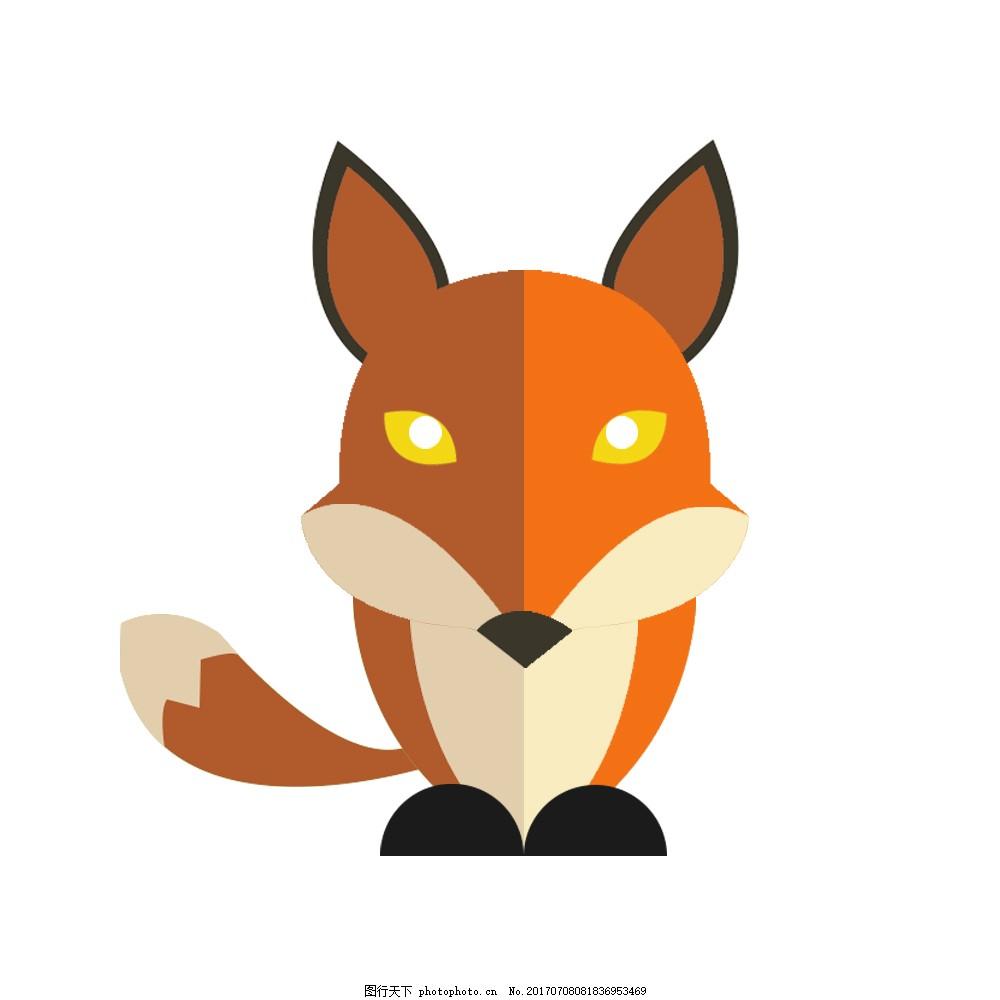 手绘卡通小狐狸矢量图插画