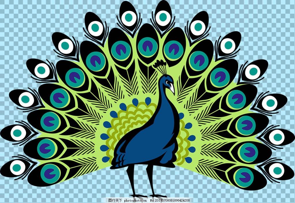手绘开屏的孔雀免抠png透明图层素材 鸟类动物 可爱动物图片 家禽