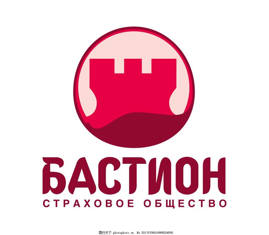 城堡LOGO 红色 圆形 标志设计