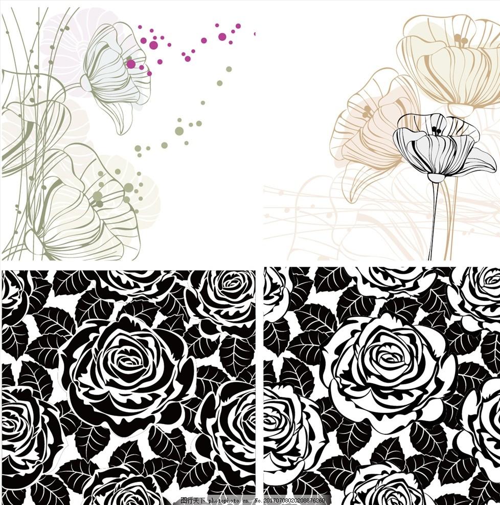 手绘花卉矢量玫瑰花黑白 家纺四件套 欧式花纹 四方连续 定位印花