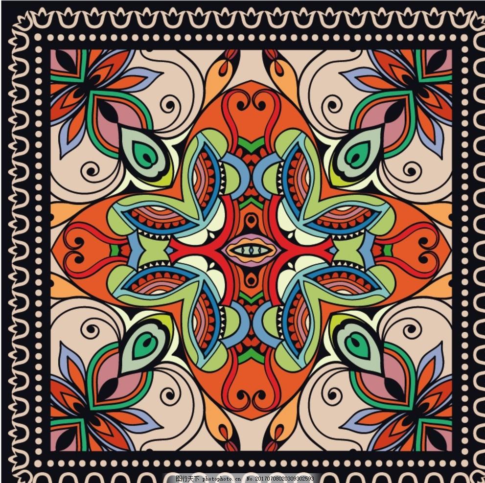民族丝巾 数码印花 丝巾印花 方巾图案 民族几何 几何图案 花卉图片